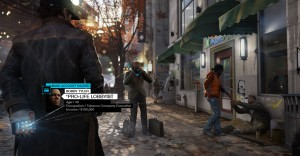 Screenshot from 'Watchdogs', a videogame based on a smart city imagery. The player can use his smartphone to hack urban infrastructures, normally operated by a centralised operating system, to use them for his advantage in a virtual 'smart' version of Chicago.  Source: ©2014 Ubisoft Entertainment. All rights reserved. Watch Dogs, Ubisoft and the Ubisoft logo are trademarks of Ubisoft Entertainment in the U.S. and/or other countries.