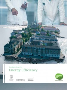 Technical report for the Trondheim (Norway) Smart City Project. The cover image shows two scientists – donned in typical scientist outfits; including white lab coats, glasses, pens, notebooks and a cup of coffee – looking at the city with a God's eye view. Apparently, the picture seems to suggest that scientists may 'control' and 'dominate' the actual complexity of urban life.  Source: © SIEMENShttp://sg.siemens.com/city_of_the_future/_docs/Energy_Efficiency_Report_-_Trondheim_SmartCity.pdf [accessed 16 October 2014]
