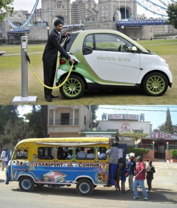 Two alternative transportation socio-technical systems: the electric car and Senegalese minibus. The electric car will probably spread throughout world cities in the near future. Despite their apparently limited environmental impact, electric cars actually consume large amounts of energy, and therefore it may be argued that electric cars just relocate the pollution and emissions from cities to the places where the energy is produced. A Senegalese minibus is generally quite old, energy intensive and pollutant, but they transport groups of people all over Dakar.   Source: a) http://www.theguardian.com [accessed 16 October 2014]; b) © Author (Dakar, Senegal)