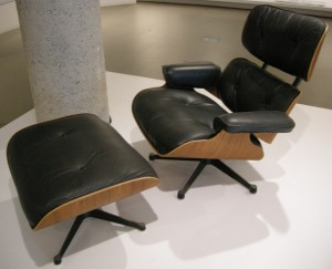The Eames' Lounge and Ottoman (1956) are two of the most iconic modern furniture designs that went on to be reproduced and copied countless times. They used an innovative technique of laminating plywood learned from their time making splints for the army in the Second World War. (source: wikipedia cc license)