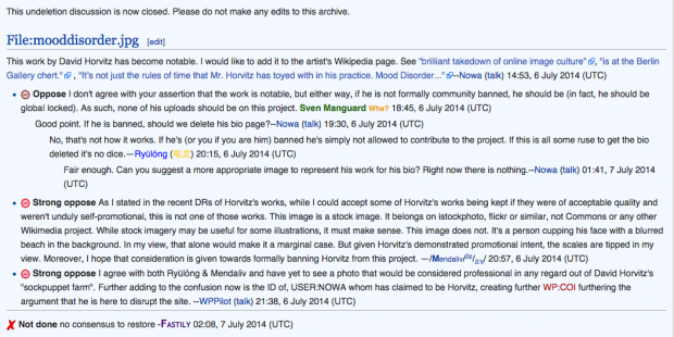 Screenshot of a discussion regarding Horvitz work on one of Wikipedia's editing boards.