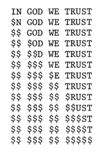 """in god we trust"" by eric amann (1981)"