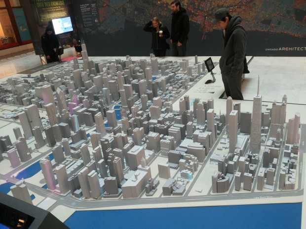 A plastic representation of Chicago. What is visible and what is invisible? Is Chicago a city just made up of skyscrapers?