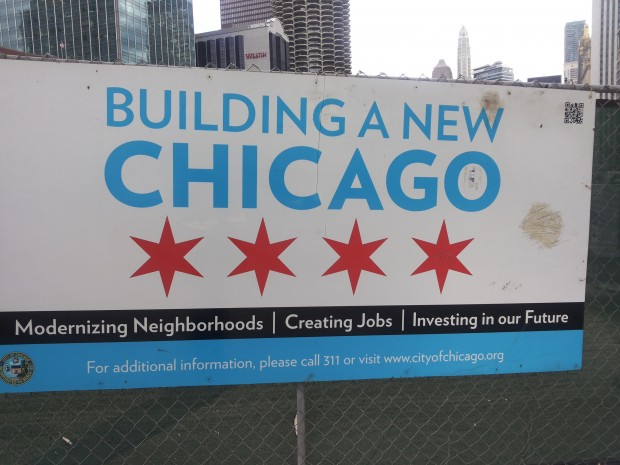 The promises of a 'new' Chicago, located in-between the present and the future. Invisible, apart from the working site, but with visible promises.