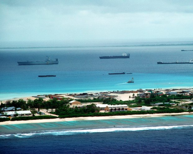 Island of Diego Garcia fluctuates between the brutally real and the romanticised imagination, between being a CIA interrogation site and a fantasy vacation destination. The Island operates a large naval ship and submarine support base, an air base, communications and space-tracking facility, and an anchorage for pre-positioned military supplies.