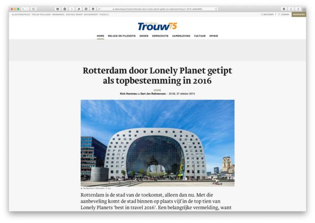 Lonely Planet recommends Rotterdam as a top destination in 2016